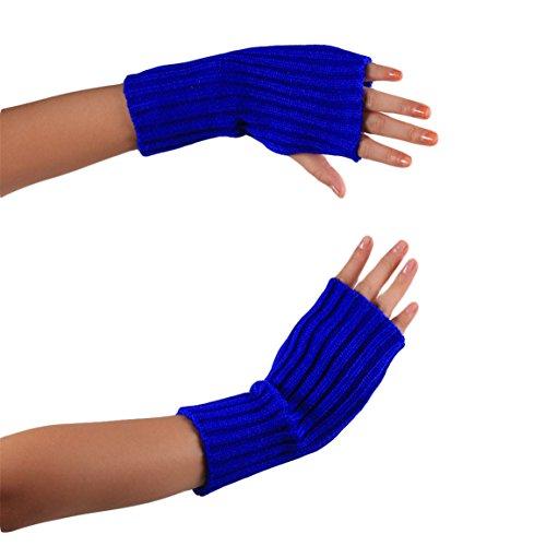 Arm Fingerless Gloves HN Women Lady Girl Knitted Soft gloves Knitting Thumb Hole Gloves Mittens Winter Hand Warmer (Blue)