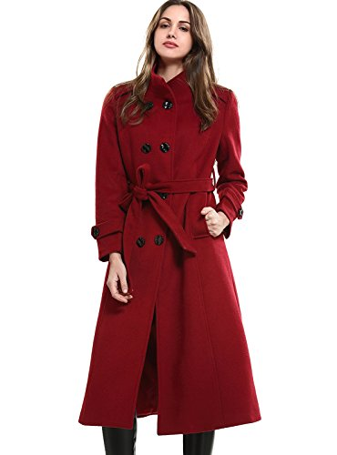 (MEHEPBURN Women's Double Breasted Wool Coat with Tie Belt Red L)