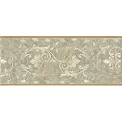Wallpaper Border Tuscan Sage Green and Beige Leaf Scroll with Tan Trim
