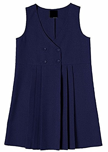 Girls School Uniform 4 Button Wrap Over Style Pleated Pinafore Dress Age 2-16 Years (Age 7-8 Years, Navy)
