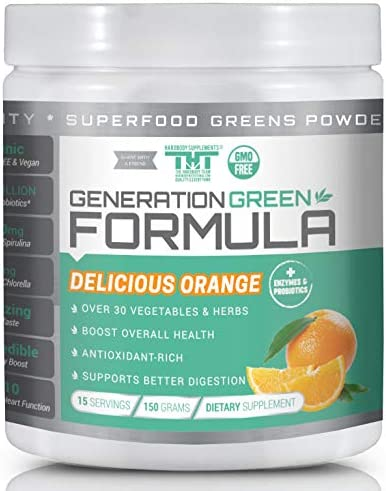 Generation Greens Powder Organic Superfood Powder with Spirulina, Chlorella, Wheat Grass 60 Powerful Super Foods, Probiotics, Enzymes GMO Free 15 Serving, Delicious Orange