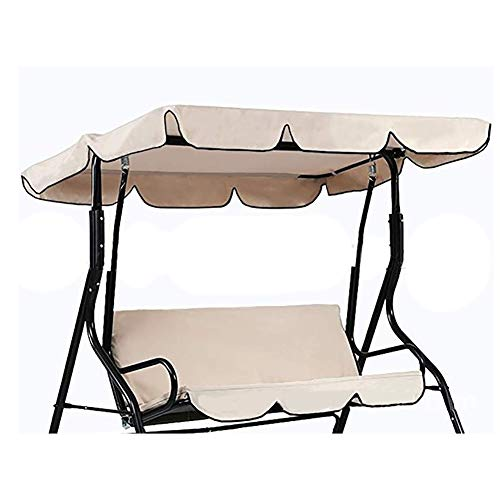 QEES 3 Seater Hammock Cushioned Swing Chair Top Cover, 2-Person Outdoor Swing Canopy Replacement Top Cover, Patio Swing Glider Cover, Lounge Chair Protector Cover JJZ1288 (Beige)