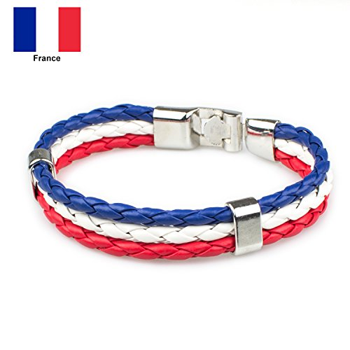 Jewelry Men Women Russian Flag Leather Bracelets Cool Rope Bracelet for Boys and Gilrs 8.66