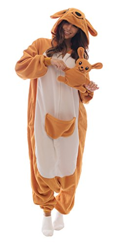 Adult Onesie Kangaroo Animal Pajamas Comfortable Costume with Zipper and Pockets (Large, Fleece)]()