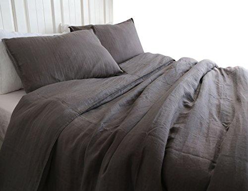 MEADOW PARK 100% Pure Linen 3 Pieces Duvet Cover Set, Vintag
