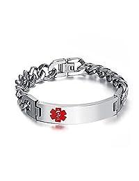 Charmed Craft Stainless Steel Medical Alert Bracelet For Men