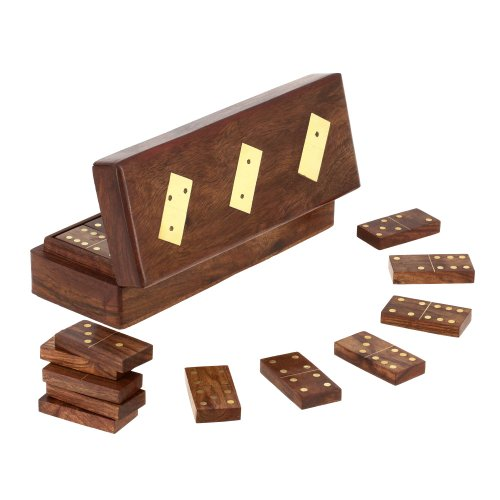 ShalinIndia, Wooden Domino box with Dominoes, 8 inch (Dominoes Gift Box)