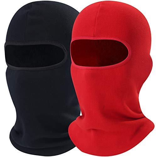 AXBXCX 2 Pack - Neck Warmer Thick Polyester Fleece Thermal Balaclava Face Mask Windproof Cover Protection for Snowboard Ski Cycling Motorcycle Hunting Driving Cold Weather Winter Activities Black&Red (Red Face Cold Weather)