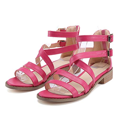 (Sherostore ♡ Women's Santini Cutout Lace-Up Open Toe Ankle Strap Zip Gladiator Sandal Summer Roman Flat Shoes)