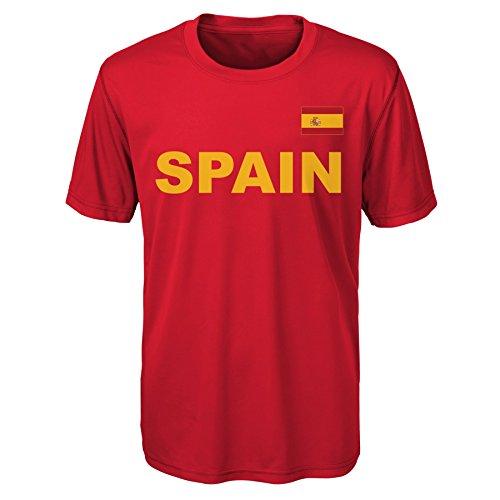 Outerstuff International Soccer Spain Adult Men Love of Country Performance Short Sleeve Tee, X-Large, - Soccer Short Tee Sleeve