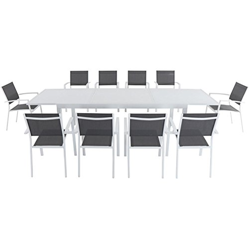 Mōd Furniture HARPDN11PC-WHT Mod Furniture Harper 11-Piece Outdoor Set with 10 Sling Chairs and a 40