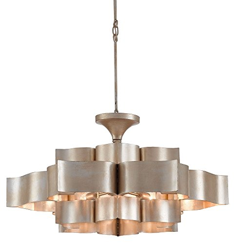 Grande 6 Lights (Currey and Company 9000-0051 Grand Lotus - Six Light Chandelier, Contemporary Silver Leaf Finish)