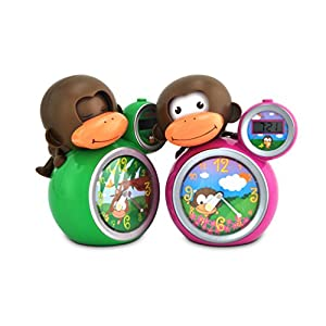 Babyzoo Sleep Trainer Clock Momo Monkey Pink Green