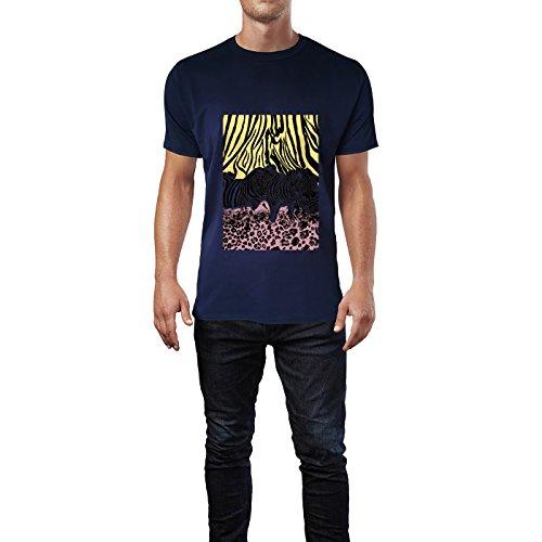 SINUS ART® Zebras vor Leopardenprint Herren T-Shirts in Navy Blau Fun Shirt mit tollen Aufdruck