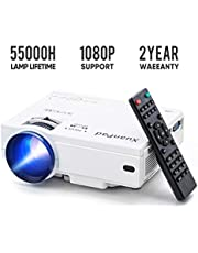 XuanPad Mini Projector Portable video-projector,55000 Hours Multimedia Home Theater movie Projector,Compatible with TV Stick,1080P HDMI,VGA,USB