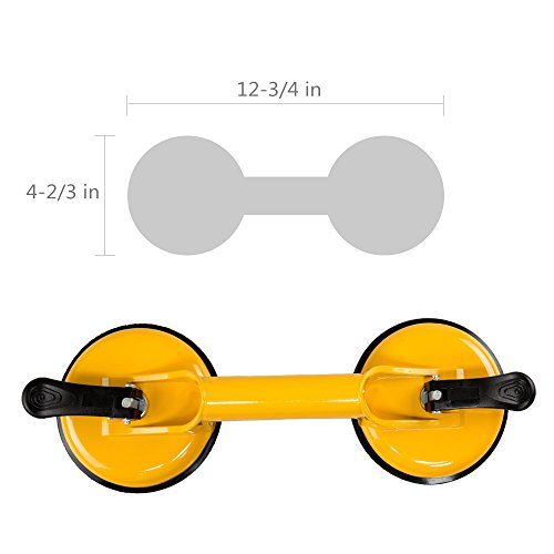 Qadira Premium Quality Heavy Duty Aluminum Suction Cup Plate Double Handle Professional Glass Puller/Lifter/Gripper by Qadira (Image #1)