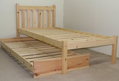Wooden GUEST BED - 3ft single pine guest bed Frame - with pull out trundle guest bed by Strictly Beds Zues Guest Bed