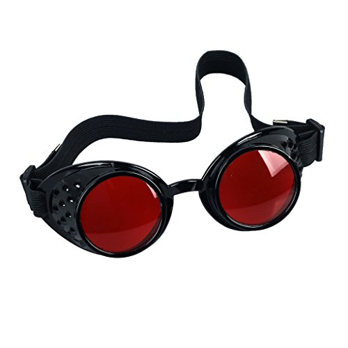Careonline Vintage STEAMPUNK GOGGLES Glasses COSPLAY PARTY Sunglasses Eyewear Safty - Red Lens Goggles