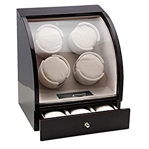 CHIYODA Watch Winder for 4 Watches + 3 Storage, Qiuet Mabuchi Motors, LCD Display & Control Screen (Brown01)