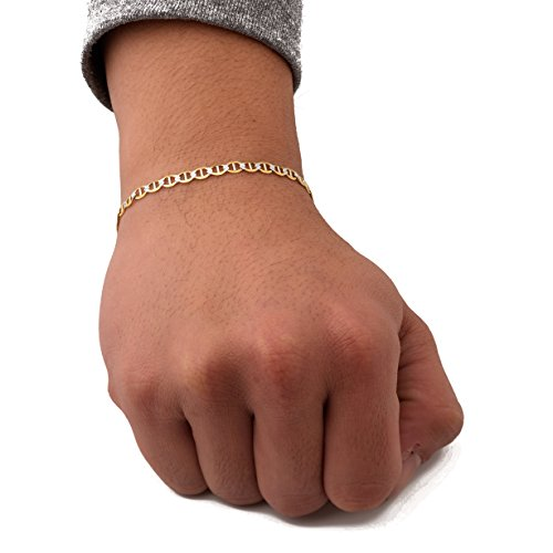 LoveBling 10K Yellow Gold 4mm 8'' Solid Pave Two-Tone Mariner Chain Bracelet with Lobster Lock by LOVEBLING (Image #3)