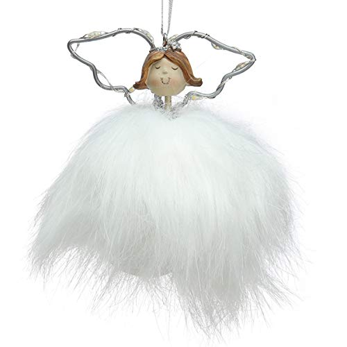 Funoasis Angel Lamp Christmas Tree Decoration, Cute Doll Hanging Tags Pendant Holiday Party Ornaments (White)