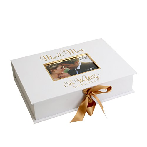 Oaktree Gifts Golden Foil Wedding A4 Keepsake Box