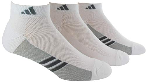 adidas Mens Superlite Stripe Low Cut Socks (3-Pair), White/Light Onix/Medium Lead, Large, (Shoe Size 6-12)