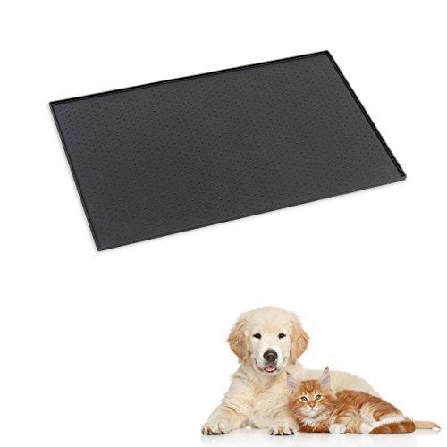 PetCareson - HERBSTAKTION - Kunststoff / Silikon Napfunterlage für Katze oder Hund (rutschfest & wasserdicht) | Fressnapfunterlage mit Rand | Auch als Schmutzfangmatte und Silikonunterlage geeignet. (Maße: 48x30cm)