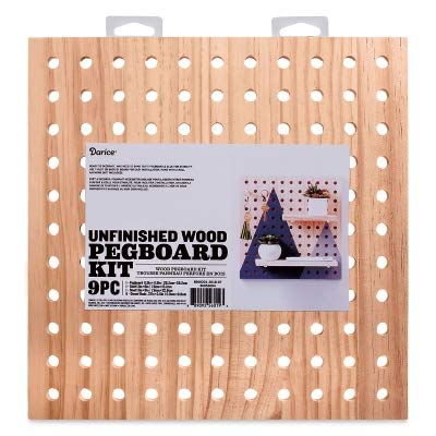 - Darice 30053054 System: Wooden Pegboard Kit, Unfinished, 11.5 x 11.5 Inches, 9 Pieces, Natural