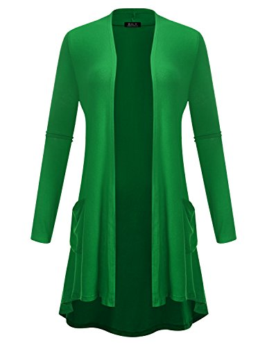 BH B.I.L.Y USA Women's Open Front High-Low Long Sleeve Front Pockets Cardigan Kelly Green X-Large