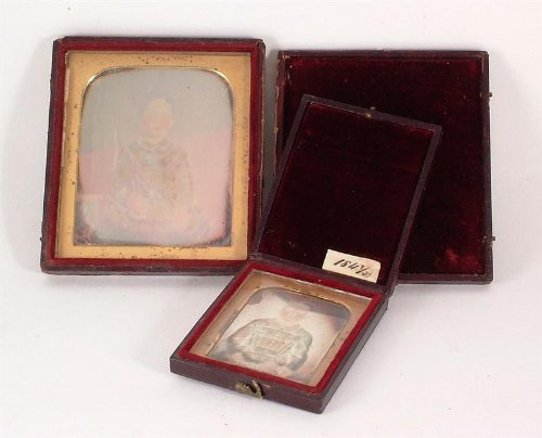 c1847 1 x 1/9 plate and 1 x 1/6 plate Daguerreoype of a seated Victorian boy