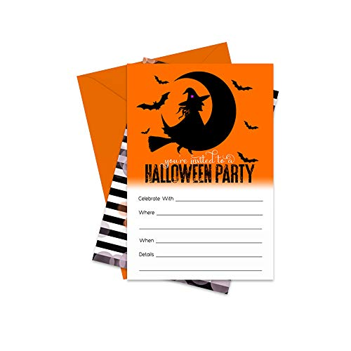 Masquerade Halloween Invitations (Wickedly Fun Halloween Party Invitations (15 Pack) Fill in Blank Invites and)