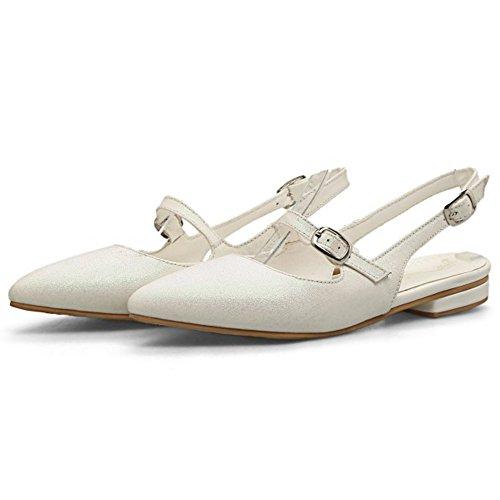 COOLCEPT Mujer Moda sin Cordones Mary Janes Sandalias Tacon Bajo Puntiagudo Zapatos Talon Abierto Blanco
