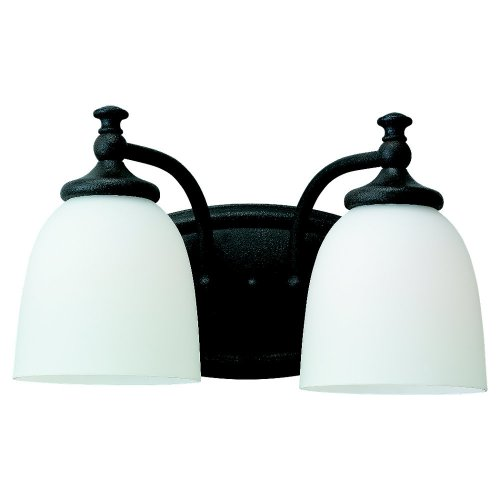 Sea Gull Lighting 44276-799 Colonnade Vanity and Bath Bar, Satin White Glass Shade and Peppercorn, 2-Light
