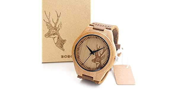 Amazon.com: Mens Bamboo Wooden Watch Quartz Real Leather Strap Men Watches Relojes Finos De Hombre Elk For Women: Beauty