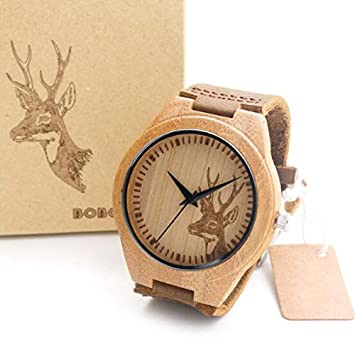 Mens Bamboo Wooden Watch Quartz Real Leather Strap Men Watches Relojes Finos De Hombre Elk For