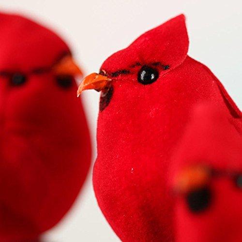 工場直接クラフトのグループ12人工植毛Northern Cardinal Birds with Attachedクリップの設計、Embellishing and Crafting B01JES4X9W