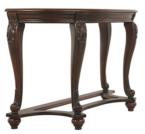 - Ashley Furniture Signature Design - Norcastle Glass Top Sofa Table - Semi-Circle - Dark Brown