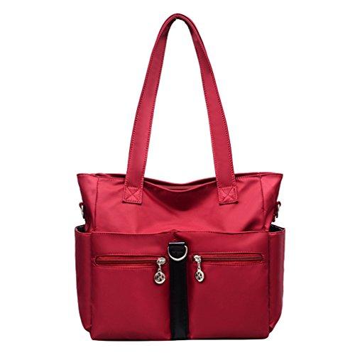 Fabuxry Women Casual Totes Handbags Shoulder Bags Purses Soft Nylon Bag Red