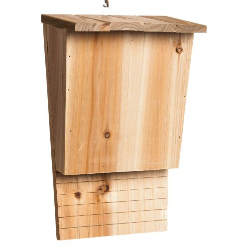 "Evergreen Natural Wood Solid Pine Single Chamber BAT HOUSE - Natural Pesticide and Bug Control - Ready to Mount - 9""W x 5""D x 13.5""H"