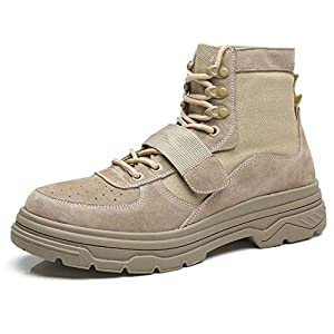 edv0d2v266 New Black Combat Leather Lace Up Mens Military Ankle Boots Shoes(Sand Color 40/6.5 D(M) US Men)