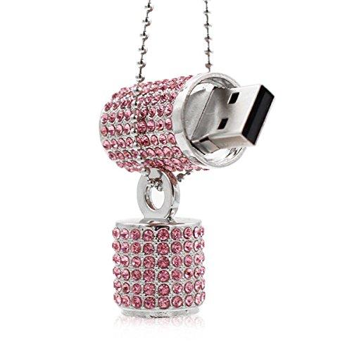 (Ciway Luxury Jewelry Lip Stick Shaped USB Flash Drive USB 2.0 Thumb Pen Drive With Necklace (Pink,32GB))