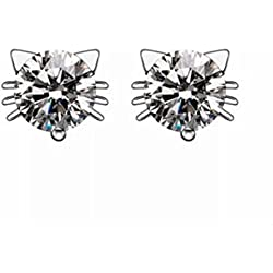 18k White Gold Plated Swarovski Crystal Zircon Mini Cute Lovely Cat Earrings Stud E160