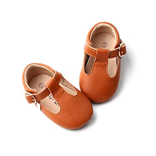 Baby Mary Jane Shoes, Toddler Mary Janes, Baby T-Bar Shoes, Toddler tbar Shoes, Soft-Sole Baby Girl Shoes (4 M US, Brown)