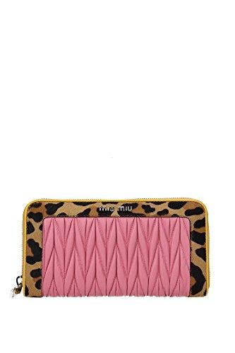MIU MIU Pink Leather & Leopard Print Long Wallet 5ml506 Zip Around