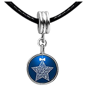 Chicforest Silver Plated The Christmas star Photo Light Rose Crystal October Birthstone Flower dangle Charm Beads Fits Pandora Bracelets