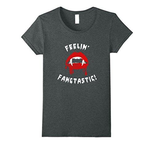 Womens Feelin' Fangtastic Halloween Rock Chick Vampire Pun T-Shirt XL Dark (Halloween Band Puns)