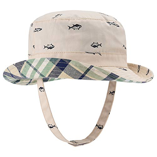 Baby Sun Hat Double Sides - Toddler Sun Hat UPF 50+ Kids Summer Play Beach Fishing Cap (Beige, 52cm)