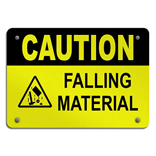 Caution Falling Material Hazard Construction Aluminum Weatherproof Metal Sign Horizontal Street Signs ()