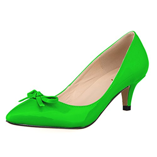 dle Heel Shoes Bow Simple Pumps Elegant Sexy Fashion Pointed Toe Shoes Green Size 6.5 ()